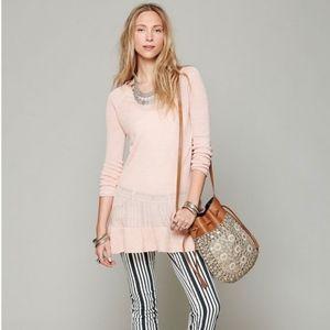 EUC Free People Ruffle Your Hem Pink Linen Tunic